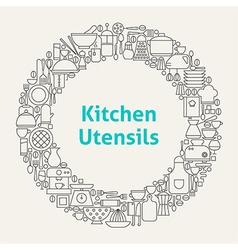 Kitchen Utensils Line Art Icons Set Circle vector image vector image