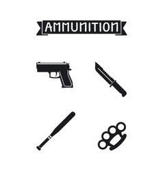 Ammunition icons set vector