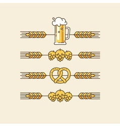 Beer linear design elements vector image