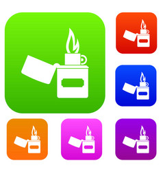 lighter set color collection vector image