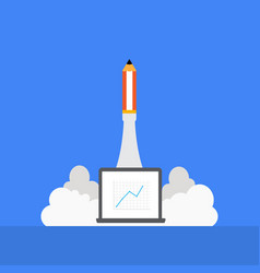 pencil rocket launching with vector image vector image