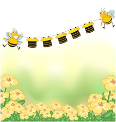 The two bees and the hanging clothes vector image vector image