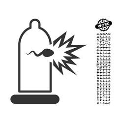 condom sperm escape icon with job bonus vector image vector image