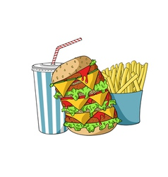 Hamburger with soda and french fries vector image