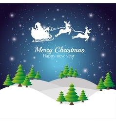 merry christmas happy new year with santa flying vector image
