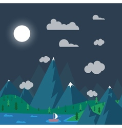 natural landscape in nighttime the style of flat vector image vector image