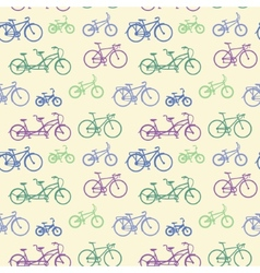 Seamless pattern with hand drawn bicycles vector image