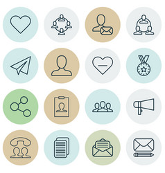 set of 16 social icons includes medal vector image vector image