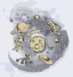 Space objects and symbols vector image