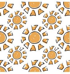 Sunny seamless pattern cute doodle suns summer vector