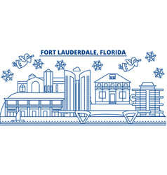 usa florida fort lauderdale winter city skyline vector image
