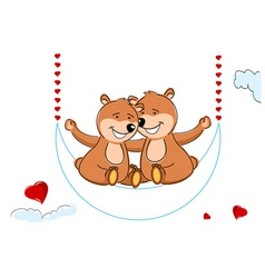 Valentine's teddy bears vector image vector image