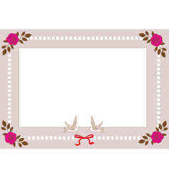 Vintage frame with pearls roses and birds vector image vector image