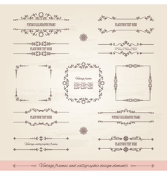 Vintage frames and page decoration set vector image vector image