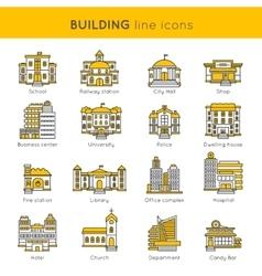 Building Line Icon Set vector image