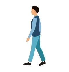 Cartoon man with blue vest walking vector