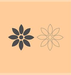 flower dark grey set icon vector image vector image