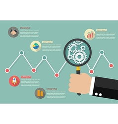 Hand holding magnifying glass with stock market vector image vector image