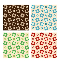 Set Of Seamless Patterns Flowers Made Of Drops vector image vector image