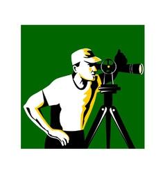 Surveyor Geodetic Engineer Survey Retro vector image vector image