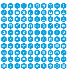 100 seminar icons set blue vector