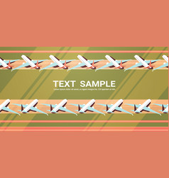 airport terminal with parked airplanes at taxiway vector image