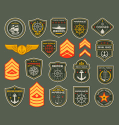 Army naval forces chevrons marines soldier icons vector