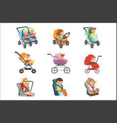 Baby carriage set different types of children vector