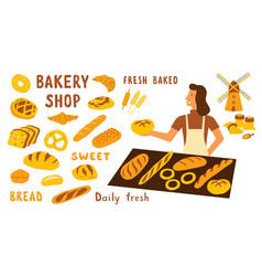 bakery funny doodle set cute cartoon woman food vector image