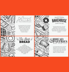 bakery top view baner design set hand drawn vector image