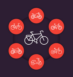 bikes linear icons cycling bicycles motorcycle vector image