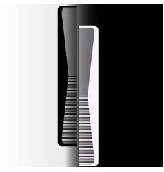black and white comb on a gray background vector image