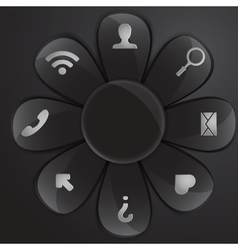 Black glass daisy for buttons and interface vector
