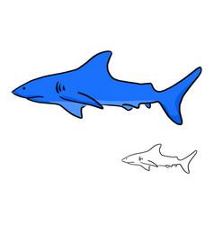 blue shark sketch doodle hand drawn vector image