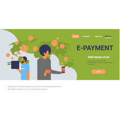 business people using mobile e-payment application vector image