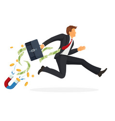 Businessman in suit runs fast with leather vector