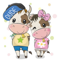Cartoon cow and bull on a white background vector