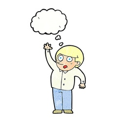 Cartoon man asking question with thought bubble vector