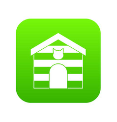 cat house icon digital green vector image