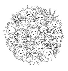 circle shape coloring page with happy sun black vector image