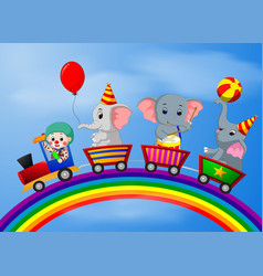 Clown and elephant on the train vector