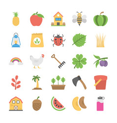 collection agriculture and farming flat icons vector image