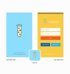 Company test tube splash screen and login page vector