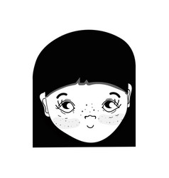 contour pretty girl face with hairstyle and vector image