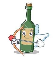 Cupid wine bottle character cartoon vector