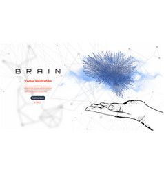 Cyber brain in the hand of man vector