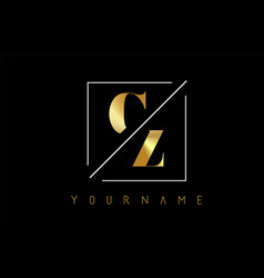 cz golden letter logo with cutted and intersected vector image