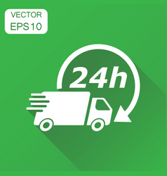 delivery truck 24h icon business concept 24 hours vector image