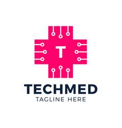 Digital medical cross plus letter t logotype icon vector