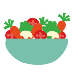 dish bowl with vegetables salad vector image